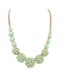 Personalized Green Flower Shape Decorated Pure Color Simple Necklace
