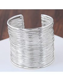 Fashion Silver Coloor Pure Color Decorated Simple Opening Bracelet