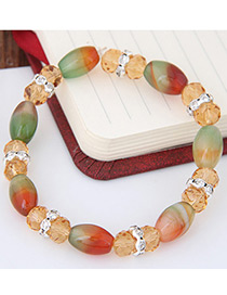 Personality Multi-color Oval Shape Gemstone Decorated Simple Bracelet