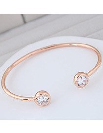 Fashion Gold Color Round Shaop Decorated Simple Pure Color Opening Bracelet