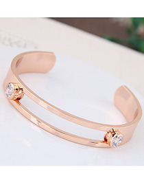 Fashion Gold Color Round Shape Diamond Decorated Simple Hollow Out Opening Bracelet