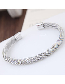 Fashion Silver Color Pure Color Decorated Simple Multilayer Opening Bracelet