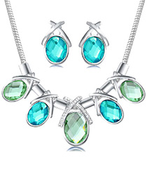 Elegant Blue Oval Shape Gemstone Decorated Simple Jewelry Sets