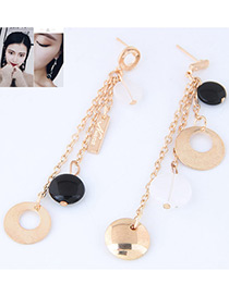 Personality Gold Color Round Shape Pendant Decorated Simple Long Chain Earrings