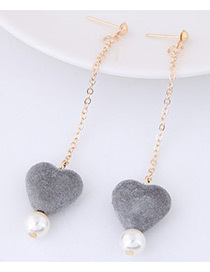 Lovely Gray Heart Shape Pendant Decorated Simple Long Chain Earrings