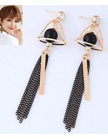 Fashion Gold Color Triangle Decorated Long Tassel Design Simple Earrings