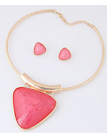 Fashion Pink Triangle Shape Pendant Decorated Simple Jewelry Sets