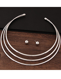 Fashion Silver Color Pure Color Decorated Multi-layer Design Jewelry Sets