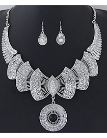 Fashion Silver Colo+black Bowknot Shape Decorated Pure Color Simple Jewelry Sets