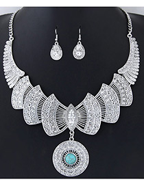 Fashion Silver Color+blue Bowknot Shape Decorated Pure Color Simple Jewelry Sets