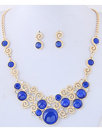 Trendy Sapphire Blue Round Shape Diamond Decorated Hollow Out Simple Jewelry Sets