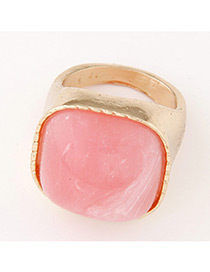 Fashion Gold Color+pink Square Shape Gemstone Decorated Color Matching Ring