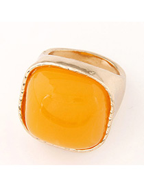 Fashion Gold Color+yellow Square Shape Gemstone Decorated Color Matching Ring