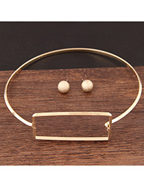 Trendy Gold Color Square Shape Decorated Pure Color Simple Jewelry Sets
