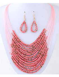 Bohemia Pink Round Shape Decorated Simple Multilayer Jewelry Sets