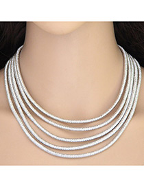Elegant Silver Color Pure Color Decorated Multiayer Short Chain Necklace