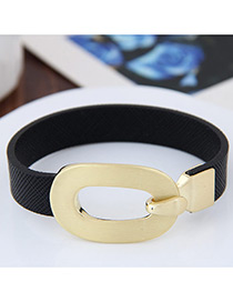 Personality Black Buckle Shape Decorated Simple Pure Color Bracelet