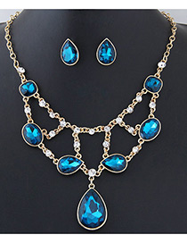 Elegant Blue Oval Shape Diamond Decorated Simple Holloe Out Jewelry Sets
