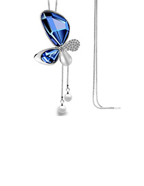 Elegant Blue Butterfly Shape Pendant Decorated Simple Long Chain Sweater Necklace