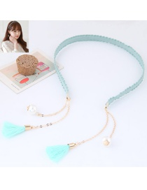 Elegant Light Blue Long Tassel Pendant Decorated Color Matching Hair Clasp