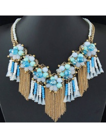 Trendy Multi-color Long Tassel Pendant Decorated Color Matching Necklace