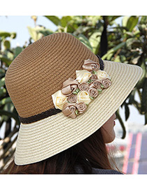 Elegant Gray+beige Flowers Decorated Color Matching Sunshade Beach Hat