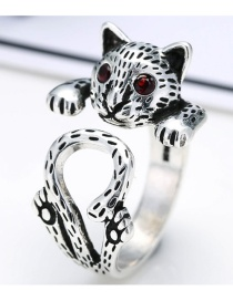 Fashion Antique Silver Diamond Decorated Leopard Shape Design Opening Ring