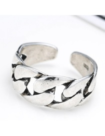 Fashion Antique Silver Pure Color Decorated Irregular Shape Opening Ring
