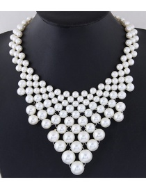 Trendy White Pearls Decorated Hand-woven Pure Color Necklace