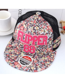 Fashion Multi-color Painting Flower Decorated Color Matching Peaked Cap