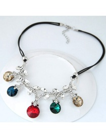 Trendy Multi-color Round Shape Diamond Decorated Color Matching Necklace