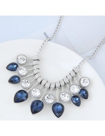 Trendy Sapphire Blue Waterdrop Shape Diamond Decorated Color Matching Necklace