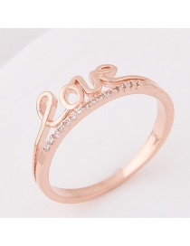 Fashion Rose Gold Letter Love Decorated Pure Color Simple Ring