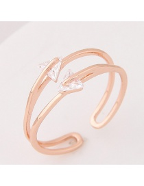 Personalized Rose Gold Traingle Shape Diamond Pure Color Opening Ring