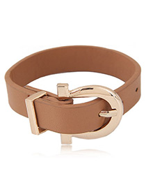 Trendy Brown Buckle Shape Decorated Color Matching Simple Bracelet