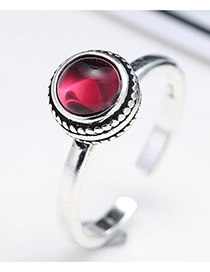 Fashion Antique Silver+plum Red Big Diamond Decorated Color Matching Opening Ring