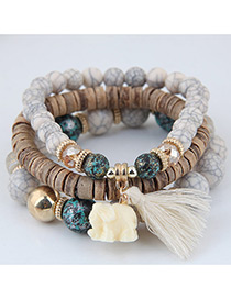 Elegant Beige Elephant&tassel Pendant Decorated Multi-layer Bracelet