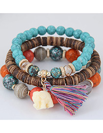 Elegant Multi-color Elephant&tassel Pendant Decorated Multi-layer Bracelet