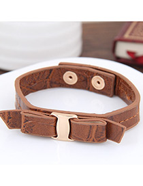Elegant Coffee Bowknot Decorated Pure Color Simple Bracelet