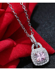 Sweet Silver Color+pink Diamond Decorated Lock Shape Color Matching Necklace
