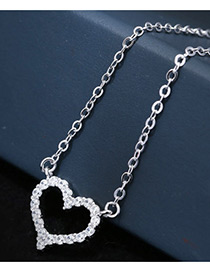 Sweet Silver Color Heart Shape Pendant Decorated Pure Color Necklace
