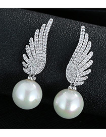 Trendy Silver Color Pearl&diamond Decorated Wing Shape Pure Color Earrings