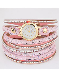 Trendy Pink Diamond Decorated Round Dail Multi-laye Simple Watch