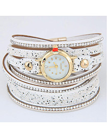 Trendy White Diamond Decorated Round Dail Multi-laye Simple Watch
