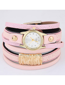 Trendy Pink Pure Color Decorated Multi-layer Simple Watch