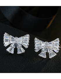 Fashion White Bowknot Shape Decorated Pure Color Simple Earrings