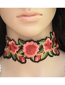 Fashion Mutli-color Embroidery Flower Decorated Color Matching Simple Choker