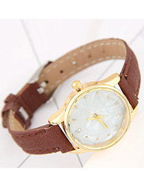 Trendy Brown Round Dial Shape Decorated Pure Color Watch