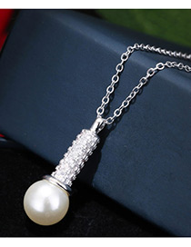 Elegant White+silver Color Pearl&diamond Pendant Decorated Color Matching Simple Earrings