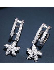 Trendy Silver Color Starfish Shape Decorated Pure Color Simple Earrings